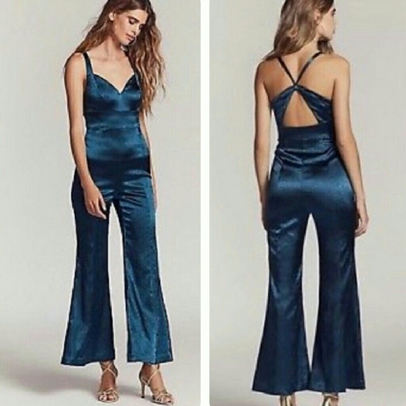 7a55e7bedfae Free People Emerald Satin Jumpsuit NWT